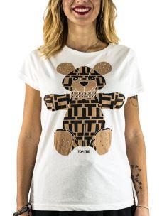 T-Shirt Cotone Donna Orsetto con Applicazioni