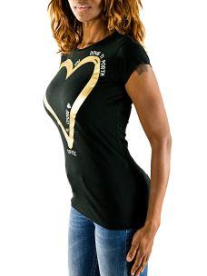 T-Shirt Donna Nera Cuore Lurex Applicazioni