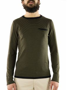 T-Shirt a Righe M/L Taschino a Contrasto