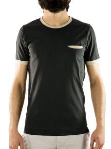T-Shirt Paricollo Taschino E Collo a Contrasto - Cotone Piuma