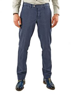 Pantalone Uomo-Chino-Stretch-Microfantasia-Made in Italy-Blu