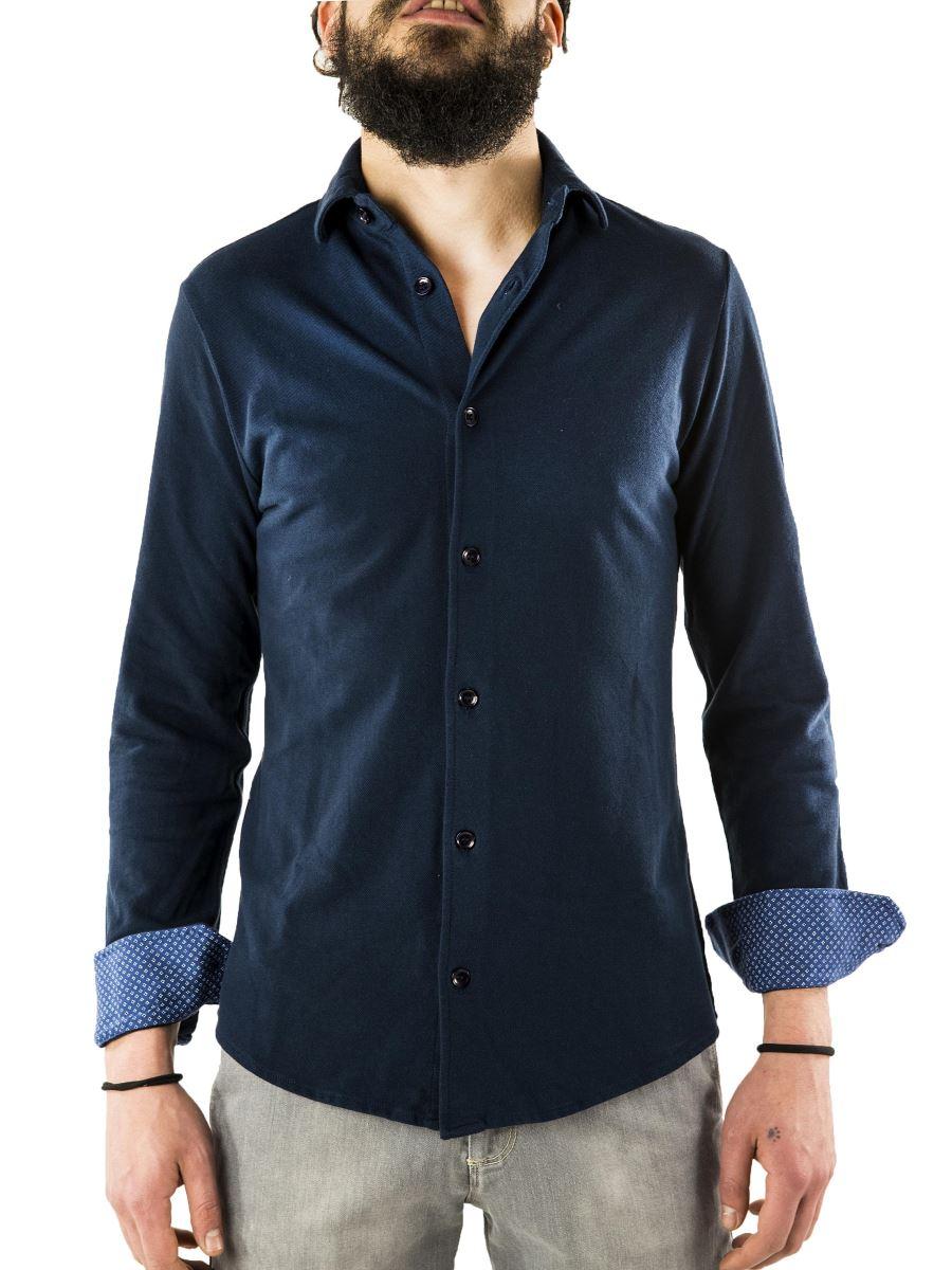 Camicia in Piquet-Tessuto Polo-Slim-Made in Italy
