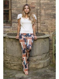 Pantalone Donna  Induit a Zampa Multicolor
