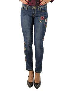 Jeans Donna con Fiori Ricamati Stretch-Made in Italy