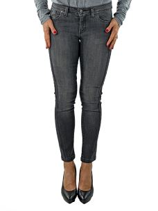 Jeans Donna Nero con Bande Glitter Applicate-Made in Italy