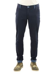 Pantalone Chino Slim Uomo Cotone Raso Contrasti Fantasia