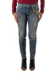 Jeans Skinny NENETTE Stretch Stone Washed con Rotture e Catena