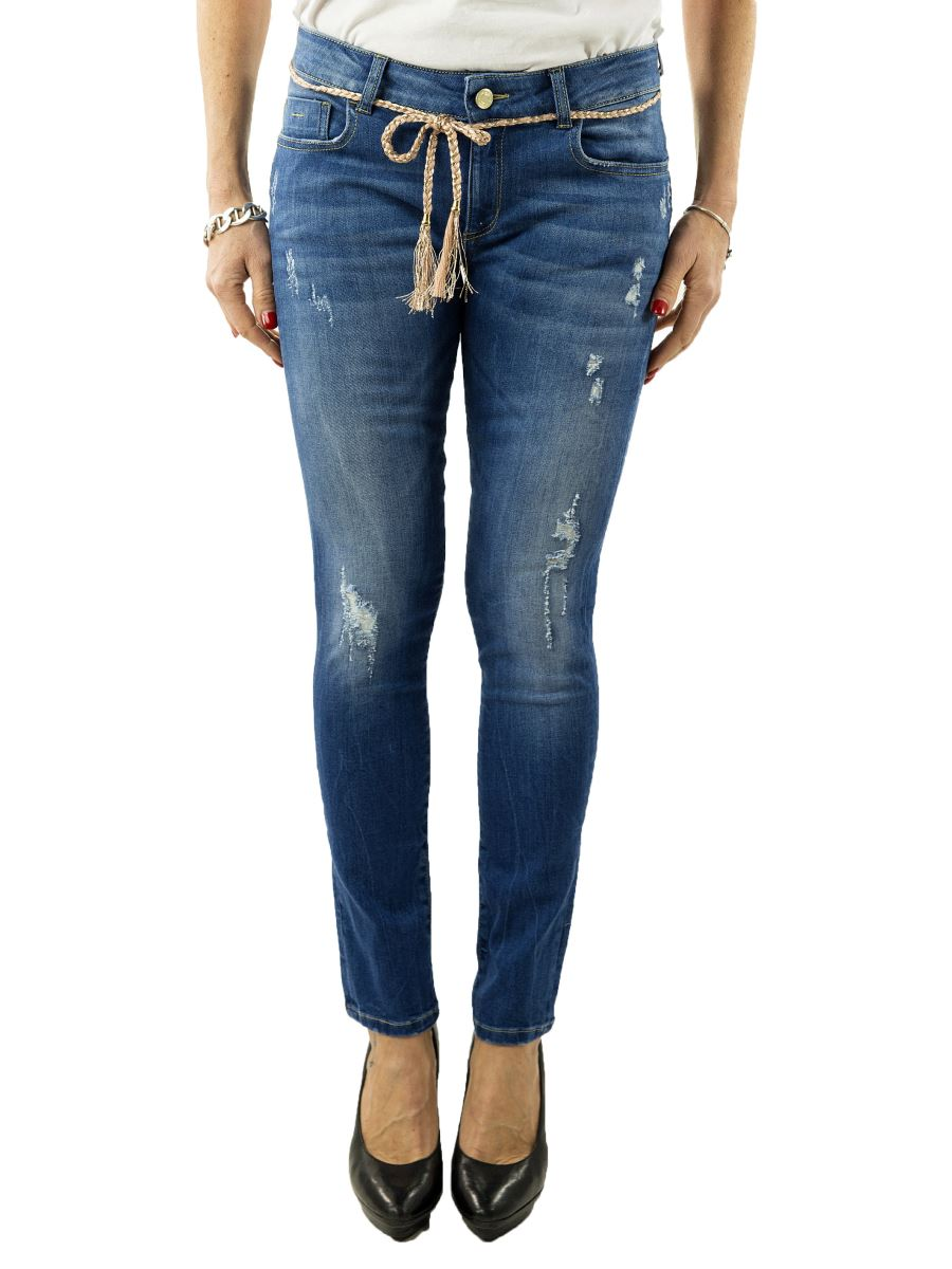 Jeans Nenette-Donna-Bottom Up-elasticizzato-strappi e cintura