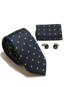 Kit Cravatta+fazzoletto+gemelli in seta +box regalo