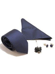 Kit Coordinato Cravatta Fazzoletto Gemelli e Spilla in Seta blu
