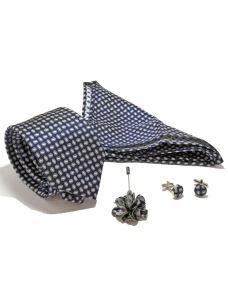 Coordinato Cravatta Fazzoletto Gemelli e Spilla in Seta Blu