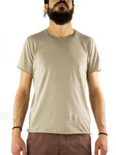 T-Shirt-Uomo-Scollo Quadro-Cotone-Made in Italy