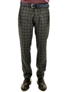 B-SETTECENTO-Pantalone Chino a Quadroni in lana-Made in Italy