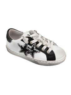 2 Stars sneaker bassa bianca con stella nera