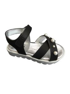 3.0 sandalo in pelle con zeppa e fascia con perle