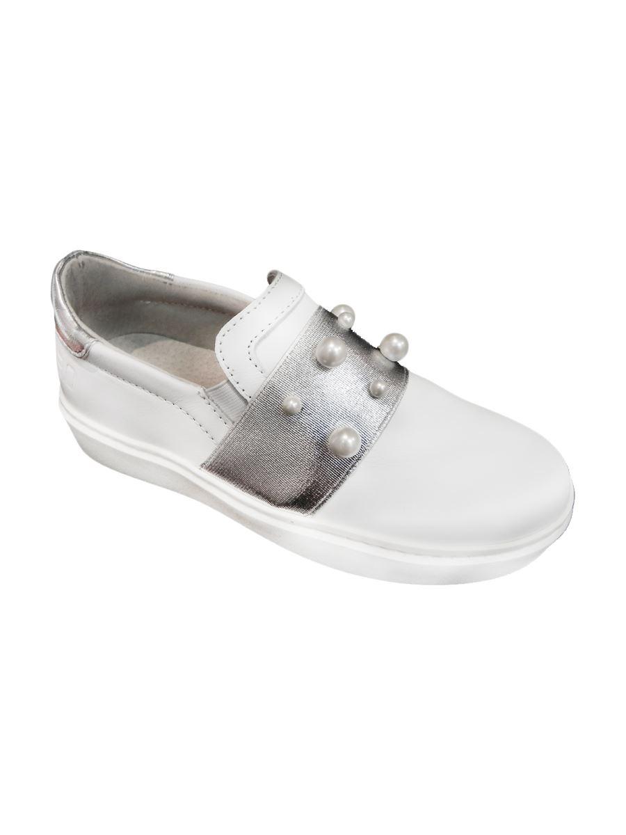3.0 Sneakers slip on bianca con fascia argento e perline