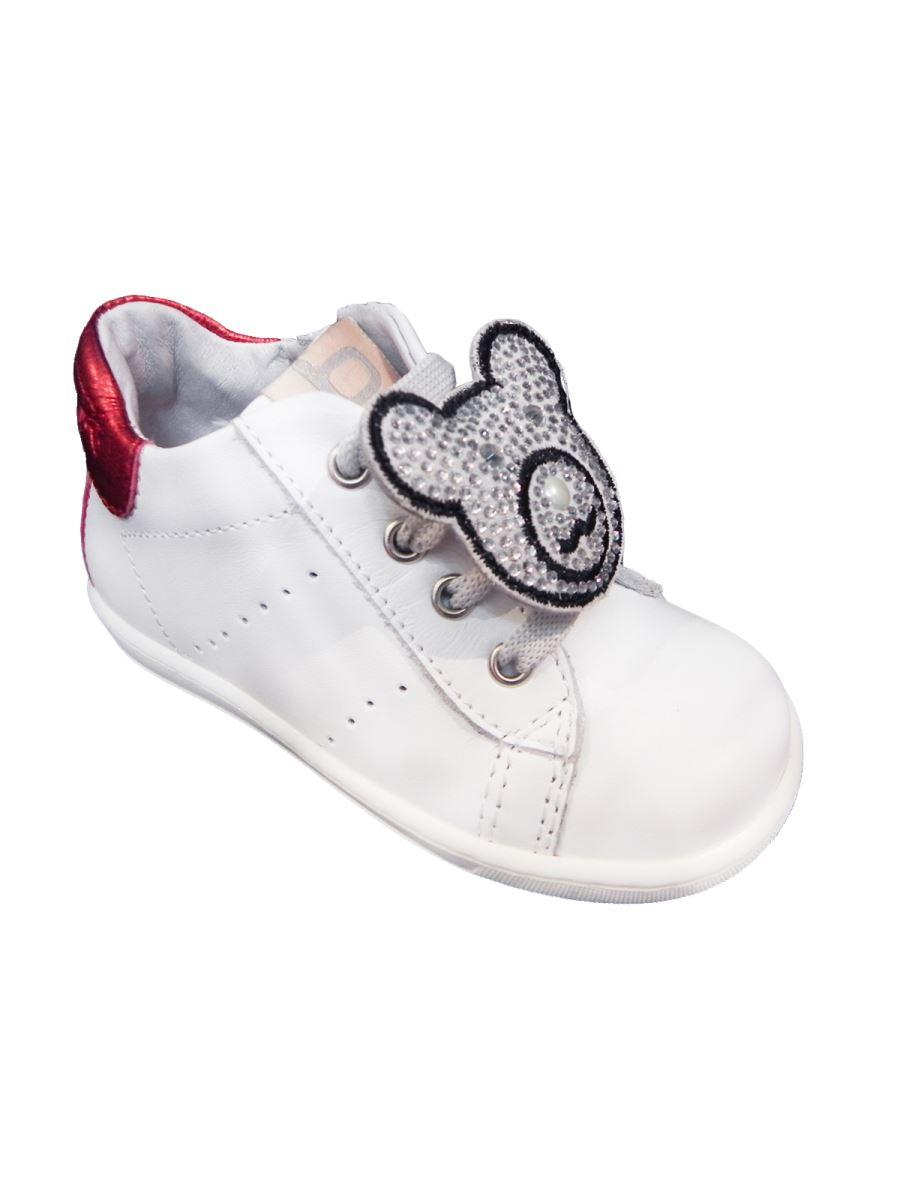 Balducci scarpa primi passi in pelle con orsetto e brillantini