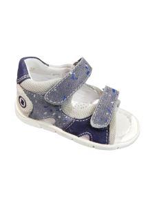 Balocchi sandalo primi passi bimbo tessuto e pelle con velcro