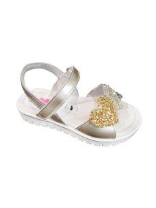 Balocchi sandalo femmina con cuori glitterati su velcro