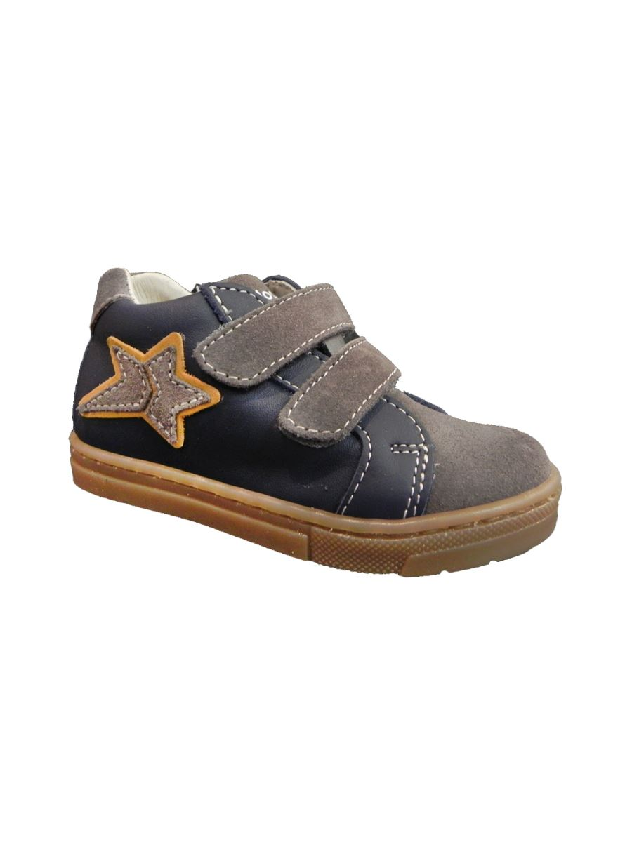 Balocchi scarpa con velcro e suola in gomma marrone