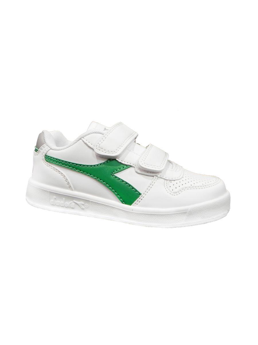 Diadora Playground bianca baffo verde con velcro