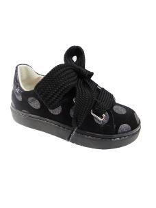 Euro Bimbi shoes sneakers bassa in pelle con pois in glitter