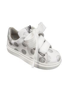 EB euro bimbi scarpa bassa in pelle con pois glitterati