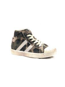 Sneakers in pelle con punta gomma