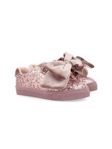 Giseppo scarpa bassa in glitter con fiocco in velluto.