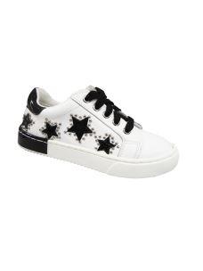 Jolì sneakers bassa in pelle con lacci e zip, stelle e borchie