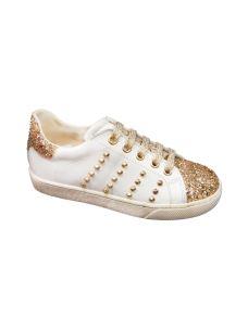 Kid's Heaven sneakers in pelle con glitter e borchie
