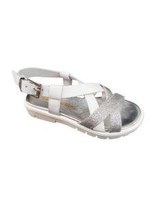 Chiara Luciani sandalo in pelle con lacci argento