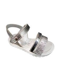 Melania sandalo in pelle argento con velcro