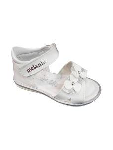 Melania sandalo in pelle primi passi con fiori e glitter