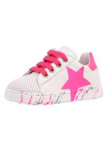 Naturino sneakers in pelle con stella fuxia laterale