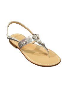 Moda Positano sandalo infradito con cuori in gioiello
