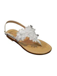 Moda Positano sandalo in cuoio infradito con fiori
