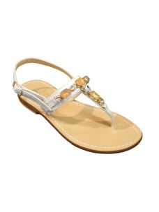 Moda Positano sandalo infradito con gioiello bronzo