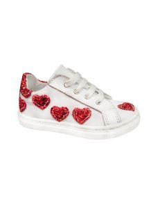 Pretti Shoe scarpa interamente in pelle con cuori glitter