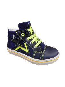 Pretti Shoe sneaker alta blu con stella gialla fluo