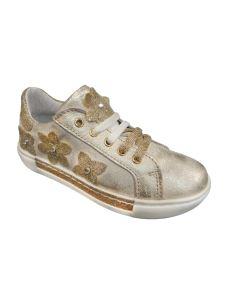 Pretti Shoe sneakers bassa con fiori esterni oro