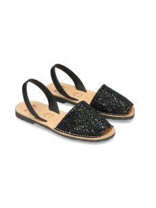 Ria Menorca sandalo in pelle e glitter nero