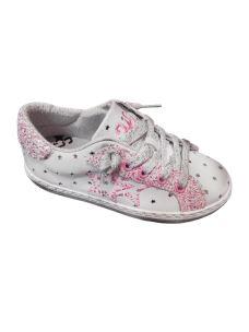 2 STARS sneakers bassa in pelle con rifiniture di glitter rosa