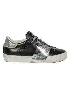 CRIME LONDON LOW TOP  DISTRESSED BLACK/SILVER