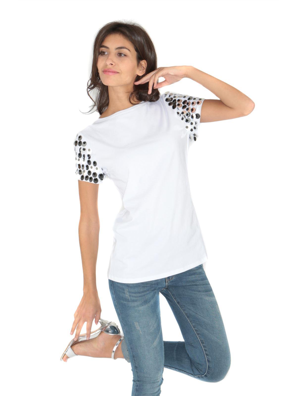 T-shirt con maniche in paillettes art SFE8-1040
