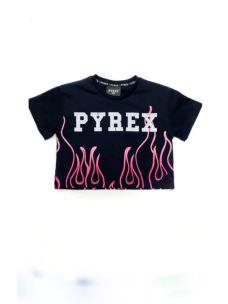 T-shirt girl cropped fiamma PYREX