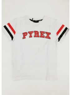 T-shirt jr con logo Pyrex e bande sulle maniche