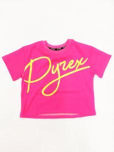 T-shirt girl cropped logo Pyrex corsivo