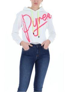 Felpa crop donna lacci e logo PYREX fluo