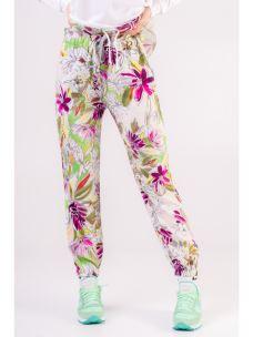 Pantalone in twill a fiori DEHA